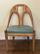 Vintage Art Deco Leather And Wood Hand Carved Chair Modern Antique 1940s