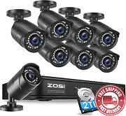 Zosi 1080p Poe Home Security Camera System Outdoor Indoor8ch 5mp H.265+ Poe Nvr