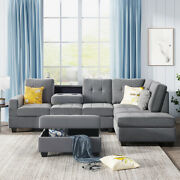 3-piece Modern Sofa Bed Microfiber Sectional Sofabed Set Couches Storage Ottoman