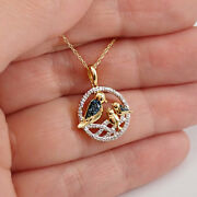 18 Kt Real Solid Yellow Gold Bird Circle Sign Of Love Cz Chain Necklace Pendant