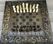 Set Of Chess, Checkers, Backgammon 3 In 1 Carved From Natural Ash Wood