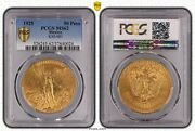 Mexico Gold 50 Pesos 1925 Pcgs Ms 62 - Early Years Rare