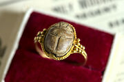 Antique Victorian Neo-egyptian 18k Gold Faience Scarab Beetle Ring C1870