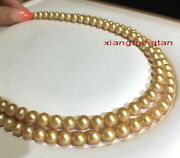 Long Aaaaa 4811-12mm Real Natural South Sea Deep Golden Pearl Necklace 14k Gold