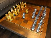 Rare 1982 Franklin Mint Royal Houses Britain Heraldic Chess Set With Wood Board