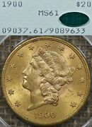 1900 20 Pcgs Ms61 Cac Rattler Gold Liberty Double Eagle - Ogh, Old Green Holder