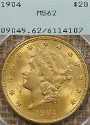 1904 20 Pcgs Ms62 Rattler Gold Liberty Double Eagle - Ogh Old Green Holder