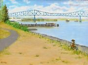 'lewis And Clark Bridge' Oil Painting On Canvas Board 12″h X 16″w