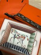 Hermes Tray Plate Dish Horse White Multicolor Suede Leather Interior From Japan