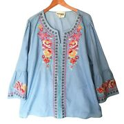 Savanna Jane Womens Embroidered Floral Top Plus Size 3x 3/4 Bell Sleeve Rayon Pu