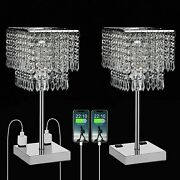 3 Way Touch Lamp Modern Square Crystal Table Bed Dimmable Usb Bedside Decor 2pc