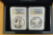2013-w West Point Silver Eagle 2 Coin Box Set Ngc Pf69/sp69 Reverse/enhanced