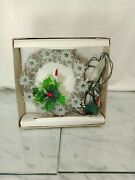 Vintage Candle N Holly Silver Tinsel 11 Lights Christmas Tree Topper 1990s