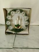 Vintage Green Wreath And Candle 13 Lights Christmas Tree Topper