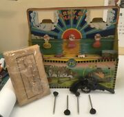 Vintage Tin Litho Marx Army And Navy Target Includes Toy Gun And 4 Metal Darts