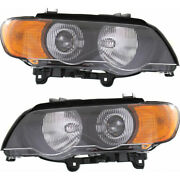 Fits Bmw X5 Headlight 2000 01 02 2003 Pair Driver And Passenger Side Hid
