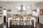 7ft White Kitchen Island With Black Quartz Counter Top Made In Us