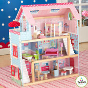 20 Piece Wooden Dollhouse Furnished With Windows That Open And Little Piano A769