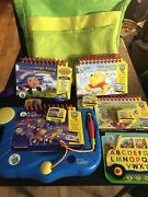 Lot 5 Leap Frog My First Leap Pad Beginner Learning Books Cartridges Backpack