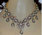 Antique Rose Cut Diamond 12.30ct Silver Beautiful Polki Necklace For Party Wear