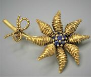 Vintage And Co. Brooch 18k Gold With Sapphires