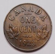 1923 Small Cent Vf-ef Rare Date High Grade 2nd Lowest Mintage Key Canada Penny