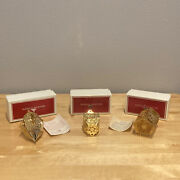 Reed And Barton Christmas Ornament Gold Plated Tree Castle Lot Of 3 Angel Snow
