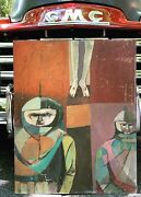 Vintage Abstract Cubist Religious Knights Painting Art Mid Century Modern Signed