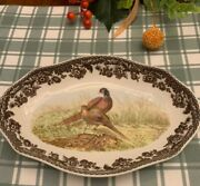 Spode Woodland Pheasant Oval Fluted Dish New