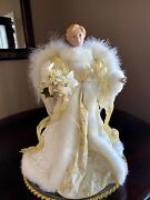 Angel Tree Topper Gold Winter White Faux Feather Wings