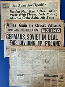 Lot Of 3 World War Ii Ww2 Sept 1939 Newspapers War In Poland Sinking Of Athenia