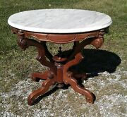 Antique Victorian Walnut White Marble Top Parlor Table Rococo Revival 1860s