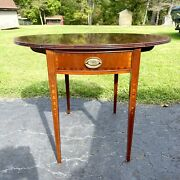 """Ethan Allen Pembroke Drop Leaf End Table With Inlay Gold Hardware Pineapple 27""""h"""