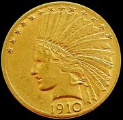 1910 D Gold United States 10 Dollar Indian Head Coin Denver Mint