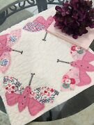 Vintage Feed Sack Pink Butterfly Table Quilt Cutter For Repurposing And Crafts