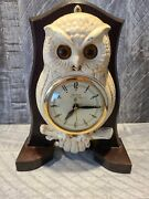 Vintage Moing Eyes Owl Figural Clock United Clock Corp Metal Casting 1951 Works