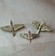 Vintage Sterling Silver Wwii Pin Badge Wings Us Military Army Air Corp Lot Of 3