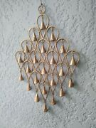 Inverted Drop Style Goldtone Wrought Iron Wind Chime With Metal Bells. 22