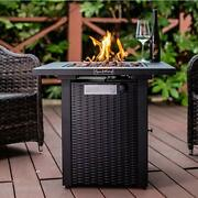 Legacy Heating 28inch Wicker Andrattan Square Propane Fire Pit Table, Outdoor Dinn