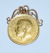 Antique 1911 Gold Full Sovereign Coin Pendant Rose Gold Fancy Scroll Mount Unc