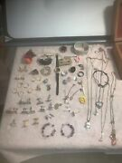 Job Lot Vintage Costume Jewellery Rings Earnings Cuff Links Necklaces Broaches