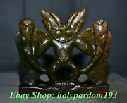 8 China Hongshan Culture Old Jade Carving Sun God Helios Snake Tail Statue
