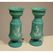 Antique 19th Pair Of Vases In Opaline Green Decor Angels