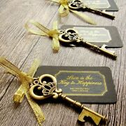 Key Bottle Opener 50pcs With Tags Wine Ring Keychain Party Favor Christmas Gift