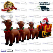 33x11.5ft Inflatable Santa Claus With Reindeer Christmas Holiday With Air Blower