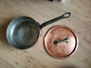 Heavy 3mm Thick Copper 9.5 Vtg Saute Pan 3 Deep Iron Handle France Made W/ Lid