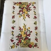 Vintage Mid Century Linen Kitchen Towel Yellow Roses And Fruit In Basket
