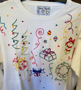 Swan Magic Festive Christmas Hand Embroidered Rare Winter T-shirt Womenandrsquos S