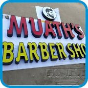 Customs Channel Letter Barber Shop Sign With Led And Power Supply.15in Tall