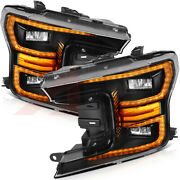 Fits Ford F150 2018-up Replacement Headlights Led Black Headlamps Front Pair Set